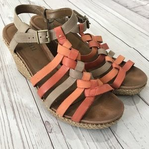 COBB HILL Woven Red Orange Leather Wedge Sandals